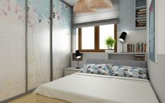 amenagement-petite-chambre-grande-armoire-porte-coulissante-tête-lit-rangement-étagères-stores