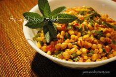 Spicy Chickpea Salad Cold Dishes, Red Curry Paste, Chickpea Salad, Indian Dishes, Chana Masala, Food Print, Spinach, Side Dishes, Salads