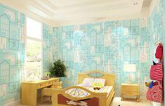 Sky Blue Geometric City Wallpaper
