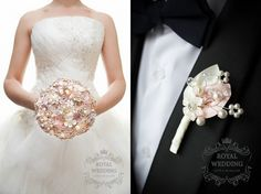 Bridal Bouquet Brooch Bouquet Bridesmaids by RoyalWeddingDecore