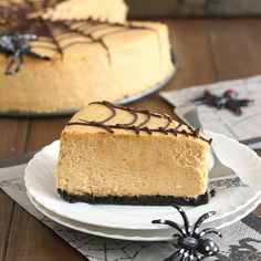 Spiced Pumpkin Spiderweb Cheesecake by Tracey's Culinary Adventures. Spiced Pumpkin, Pumpkin Butter, Pumpkin Spice, Cheesecake Desserts, Pumpkin Cheesecake, No Bake Desserts, Cake Recipes, Dessert Recipes, Fall Snacks