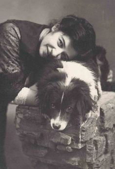 """VINTAGE:  """"Love"""" - A woman and ger sweet Border Collie.... (by Libby Hall Dog Photo Collection)"""