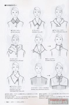 Guid to fashion design by Bunka fashion coollege (Japan): collars.