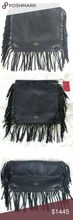 "VALENTINO C rockee fringed backpack A very versatile backpack.  As a fashion stylist, I could transform and wear this into many different style:  1. Backpack (as intended). 2. Clutch (fold into half). 3. Shoulder bag (add strap). 4. Crossbody (add long strap).  *Strap is NOT included*  Double back straps, 5"" drop. Open top; drawstring closure. Foiled logo lettering at bottom center. Open interior compartment. 14""H x 14.5""W x 1""D.  NWT w/ dustbag. Never worn.Can provide more pictures and info…"