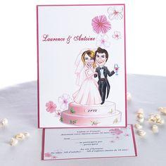 Charmant Faire Part De Mariage Original Pas Cher Humoristique Des Maries Sur Un Gateau JM210