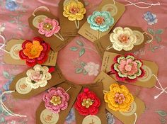Crochet Flower Hair clips - love the tags and how chic vintage they look