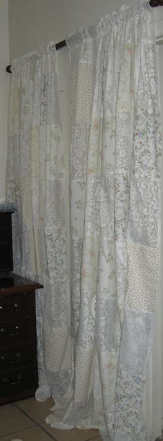 Beautiful One Of A Kind Shabby Chic Window Curtains/Vintage Lace/Vintage  Fabric/Curtains/Cottage Chic/Lace