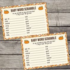 Baby Word Scramble Game Baby Shower Game Pumpkin by PartyPrintery