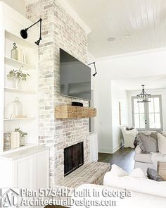 Take your home's fireplaces into the next level by designing an indoor fireplace makeover. What you need is a personalized fireplace design for your home. It is the perfect way to give your home a new, streamlined look. Farmhouse Fireplace, Home Fireplace, Living Room With Fireplace, Fireplace Design, Home Living Room, Living Room Designs, Fireplace Ideas, White Wash Brick Fireplace, Fireplace With Built Ins