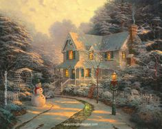 Thomas Kinkade The Night before Christmas oil painting for sale, painting Authorized official website