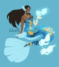 Mermaid Symmetra, Caro H Siren Mermaid, Mermaid Tale, Black Mermaid, Black Angels, Mermaid Coloring, Mermaids And Mermen, Afro Art, Merfolk, Magic Art