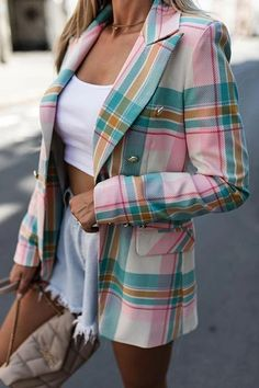 Plaid Jacket, Plaid Blazer, Blazer Buttons, Blazer Outfits, Rock Design, Blazers For Women, Suits For Women, Tweed Suits, Culottes