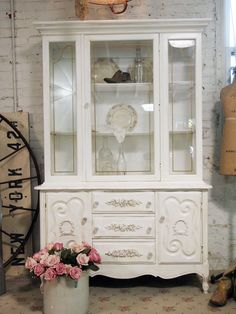 Painted Cottage Chic Shabby Tea Stained French China Cabinet CC382. $595.00, via Etsy.