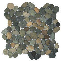 Bali Ocean Pebble Tile Shower Floor with Accents - Pebble Tile Shop Pebble Tile Shower Floor, Stone Shower, Wall And Floor Tiles, Wall Tiles, Concrete Shower, Fiberglass Shower, Stone Mosaic Tile, Pebble Mosaic, Mosaic Wall