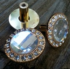 Multi Crystal with Gold Drawer Knobs Hollywood by MagicalBeansHome