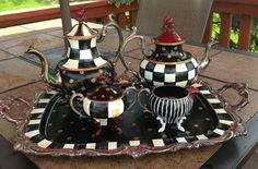 Custom Hand Painted Large Silver Tea Sets - your pot, creamer, sugar - 3 pieces