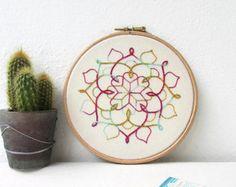 Mandala wall art, hand embroidery, mandala wall hanging, modern embroidery, textile art gift, New home gift, handmade in the UK