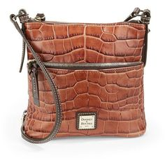Dooney & Bourke Embossed Leather Crossbody ($198) ❤ liked on Polyvore featuring bags, handbags, shoulder bags, cognac, crossbody shoulder bags, crossbody purse, cross body purse and crossbody