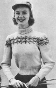 Norwegian Pullover Sweater with Fair Isle Yoke Vintage Knitting Pattern for download Bust 32-36