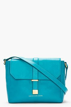 marc by marc jacobs/ teal leather mini messenger bag