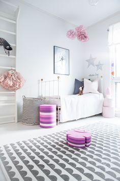 Heavenly Home In Finland Girls Bedroom, Bedroom Decor, Nordic Home, Kidsroom, Decoration, Sweet Dreams, Bean Bag Chair, Kids Rugs, Curtains