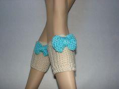 Vanila Cream Crochet Boot Cuffs with aqua bow by OtiliaBoutique, $30.00