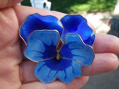 David Andersen Norway Huge Blue Sterling and Enamel Pansy Pin | eBay