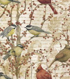 Legacy Studio Quilt Fabric- Winter Birds Bird Vine, , hi-res