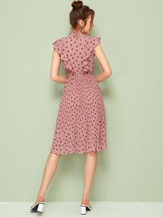 Pink Tie Neck Ruffle Trim Dot Pleated Fit and Flare Empire Dresses Lovely Dresses, Simple Dresses, Vintage Dresses, Casual Dresses, Fashion Dresses, Short Sleeve Dresses, Summer Dresses, Baby Dresses, Pleated Midi Dress