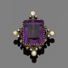 An amethyst and diamond brooch. The scissor-cut amethyst framed by old brilliant-cut diamond and pearl scrolls, pearls untested for natural origin, length Purple Jewelry, Amethyst Jewelry, I Love Jewelry, Gems Jewelry, Jewelry Accessories, Jewelry Design, Sapphire Earrings, Diamond Jewelry, Victorian Jewelry