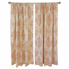 """Add a pop of style to your master suite or living room decor with this lovely cotton curtain, showcasing an elegant scrolling motif for a touch of visual appeal. Made in the USA.  Product: Set of 2 curtainsConstruction Material: CottonColor: Rose and greenFeatures:  2"""" Rod pocket3"""" HemScrolling motif Cleaning and Care: Spot clean"""