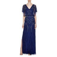 Aidan Mattox Womens Mesh Embellished Semi-Formal Dress