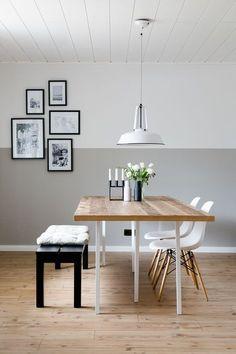 Wandfarbe ist toll, tolle Idee, nur auf halber Höhe zu streichen - Esszimmer im skandinavischen Stil