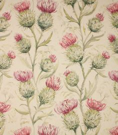 Thistle Glen fabric is a stunning thistle fabric with a high quality watercolour design printed onto a linen/cotton mix base cloth. Thistle fabric. Pink fabric. Pink floral fabric. http://www.justfabrics.co.uk/curtain-fabric-upholstery/summer-thistle-glen-fabric/