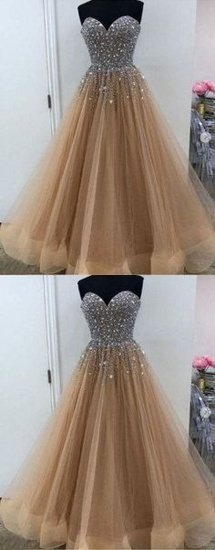 Champagne tulle beaded long prom dress, evening dress