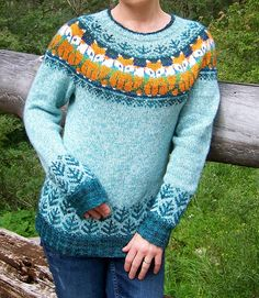 Foxy Sweater Knitting pattern by Kulabra Designs Sweater Knitting Patterns, Knit Patterns, Knitting Sweaters, Motif Fair Isle, Tribal Sweater, Fox Sweater, Icelandic Sweaters, Fair Isle Knitting, Yarn Brands