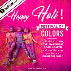 Happy Holi wishes greeting card for Social Media