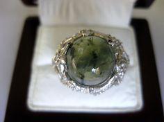 Ravishing Natural Prehnite Sterling 925 Silver Ring Size 7.25 #Handmade
