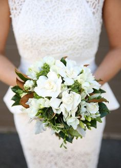 Gardenias don't just look lovely; their smell is equally as enthralling. #bouquet