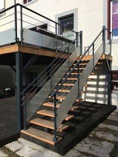 Garde-corps Inox verre ht 450 2 barres Ø20 Modèle 61 - escalier