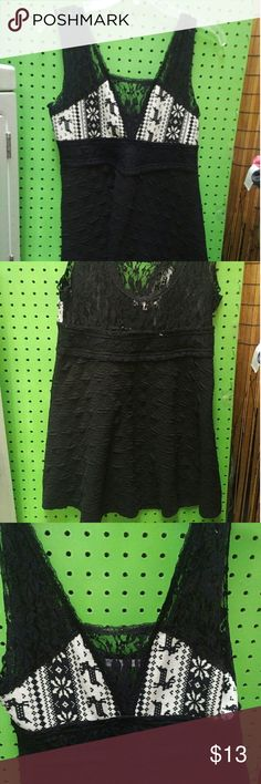 Black Tank Top Black with lace and reindeer.  Really cute top. Tops Tank Tops