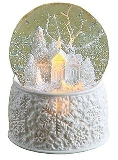 "6"" LED Porcelain Church With Sleigh Dome Battery Operated Without Batteries 100M Plays First Noel"
