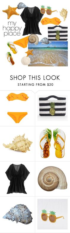 """""""the beach"""" by brittanylovesjesus ❤ liked on Polyvore featuring interior, interiors, interior design, home, home decor, interior decorating, Lisa Marie Fernandez, Talbots, White House Black Market and Aerie"""
