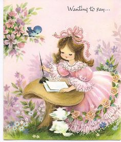 Girl in Pink  writing a note