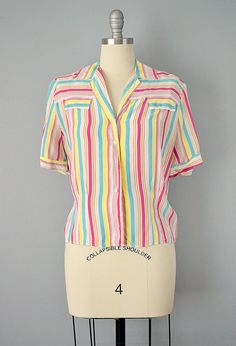 40s Blouse // 1940's Colorful Striped Rayon by OffBroadwayVintage