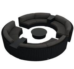 Harmonia Living Urbana Eclipse 7 Piece Modern Patio Sectional Sofa Set with Gray Sunbrella Cushions