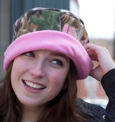 Pink camo fleece hat in Womens hat sizes XS to XXL The ladies have spoken and camouflage has gone pink. Handmade, cuffed brim pillbox or beanie hat made of soft polyester fleece in a green, tan camouf Fleece Crafts, Fleece Projects, Fleece Patterns, Hat Patterns, Pink Camouflage, Camo Hats, Cloche Hat, Clothes Crafts, Beanie Hats