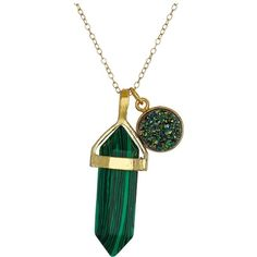Dee Berkley Simulated Malachite and Drusy Crystal Necklace (Green)... ($26) ❤ liked on Polyvore featuring jewelry, necklaces, green, coin necklace, green necklace, crystal jewelry, crystal pendant necklace and druzy pendant