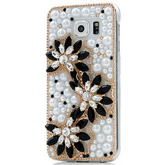 Galaxy S6 - Pearls With Black Petals, Ribbon Brooch or Mini Rose Case