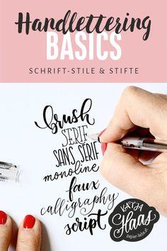 Handlettering-Basics: Schrift-Stile & Stifte - Katja Haas | PapierLiebe Brush Script, Brush Lettering, Lettering Guide, Sans Serif, Cold Brew At Home, Sketch Note, Dog Pen, Brush Pen, About Me Blog